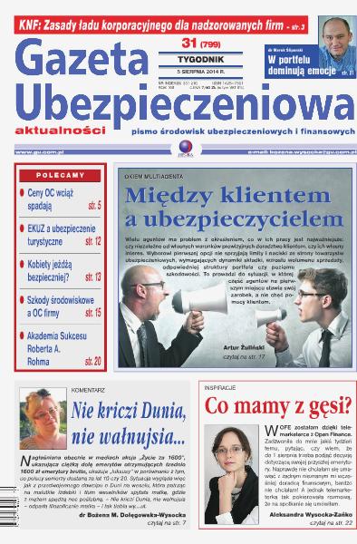 Gazeta Ubezpieczeniowa - prenumerata nr 31/2014