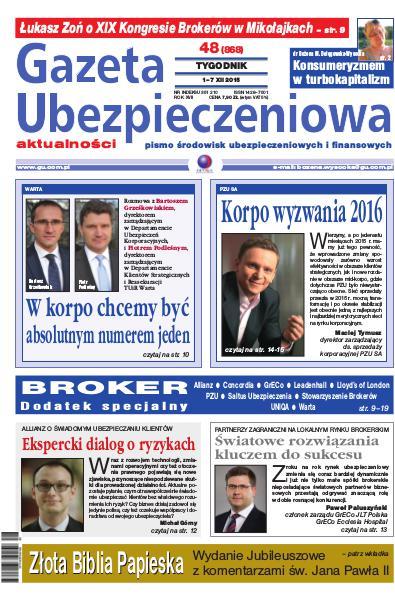 Gazeta Ubezpieczeniowa - wydanie elektroniczne nr 48-2015