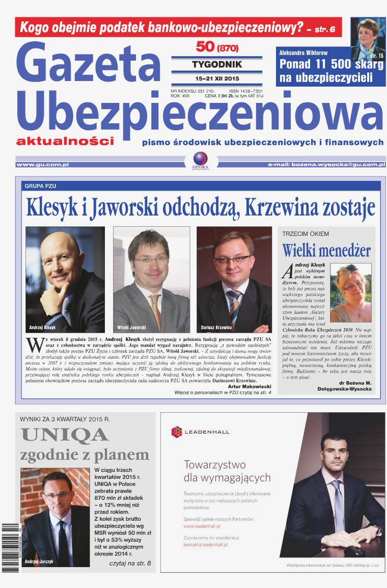 Gazeta Ubezpieczeniowa - wydanie elektroniczne nr 50-2015