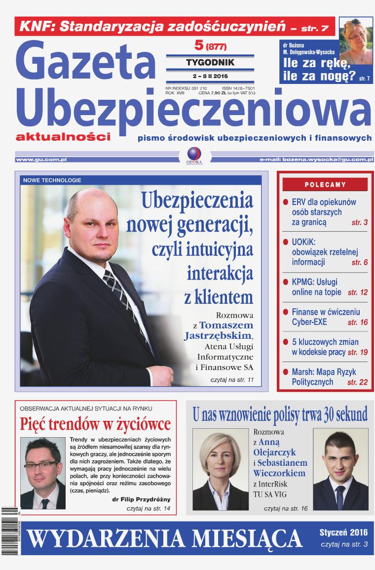 Gazeta Ubezpieczeniowa - wydanie elektroniczne nr 5-2016
