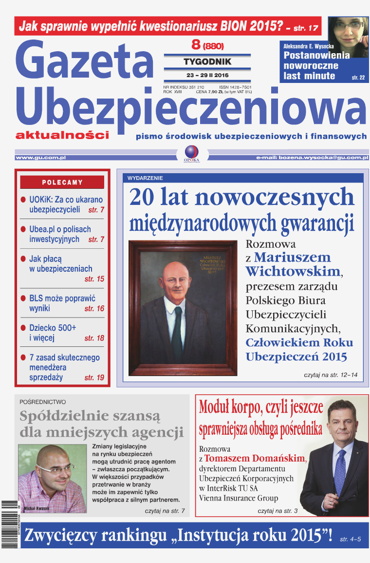 Gazeta Ubezpieczeniowa - wydanie elektroniczne nr 8-2016