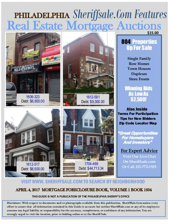 April Promo 2017 Mortgage SheriffSale.com Buy Philly Foreclosures Guide