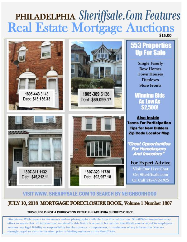 Philadelphia's July Foreclosure Auction Guide July 10 Mort Final
