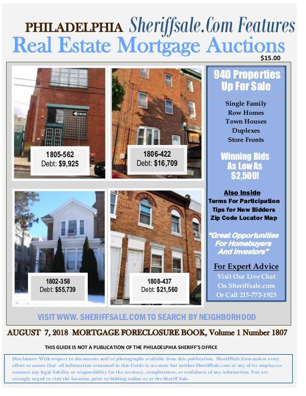 Philadelphia's August 2018 foreclosure Listing Philadelphia's Mortgage Foreclosure List