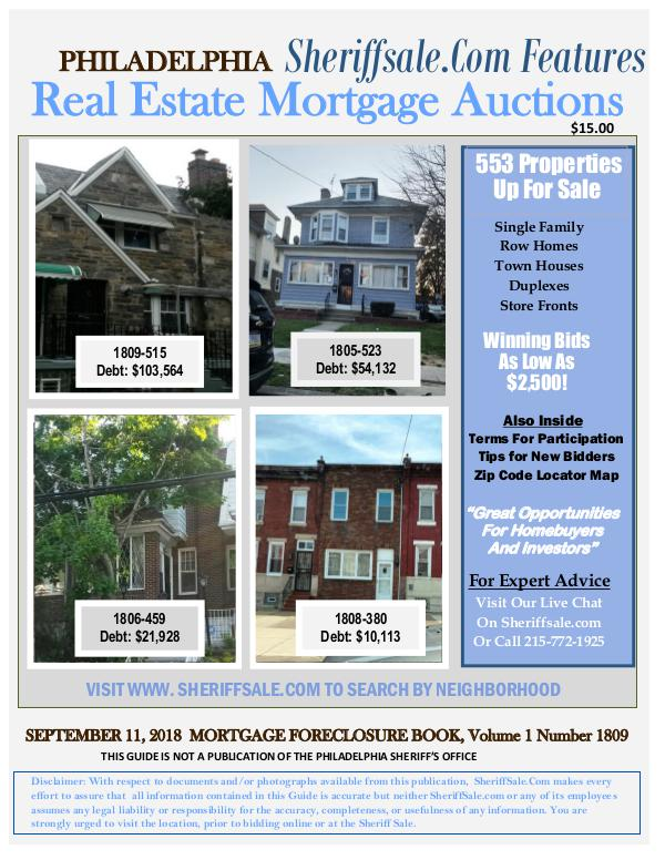 Sept 2018 Foreclosure September 2018 Philadelphia Mortgage Foreclosure L