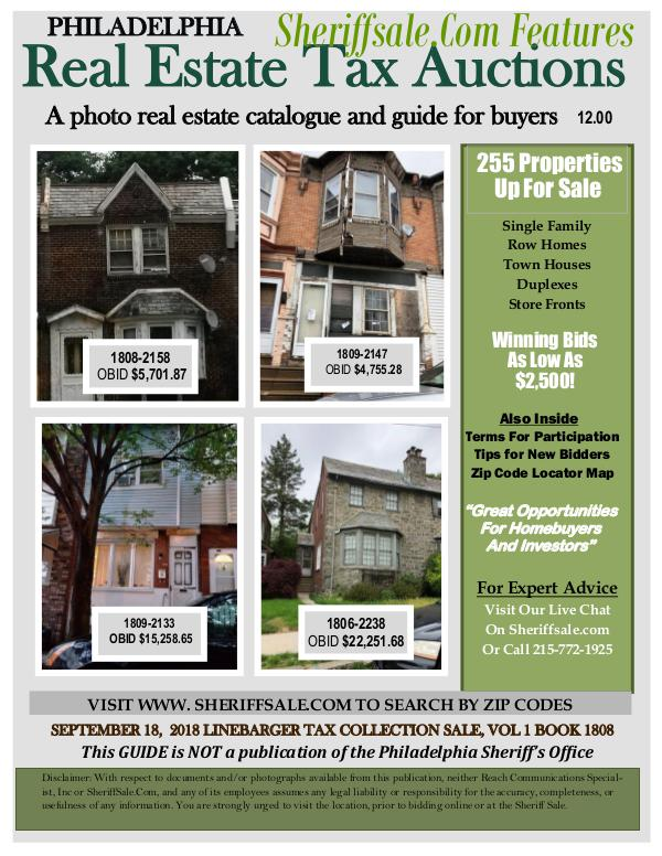 September 18 Philadelphia Tax Auction Color Photo Guide SEPTEMBER 18,  2018 LINEBARGER TAX COLLECTION SALE