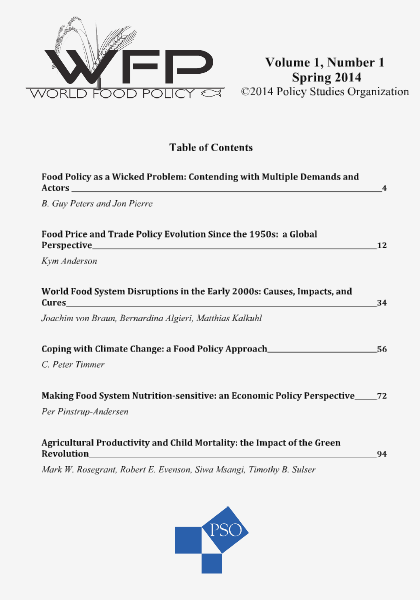 World Food Policy Volume 1, Number 1, Spring 2014