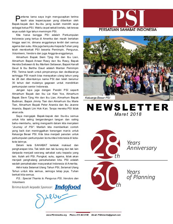 Newsletter PSI (Persatuan Sahabat Indonesia) Newsletter PSI Maret