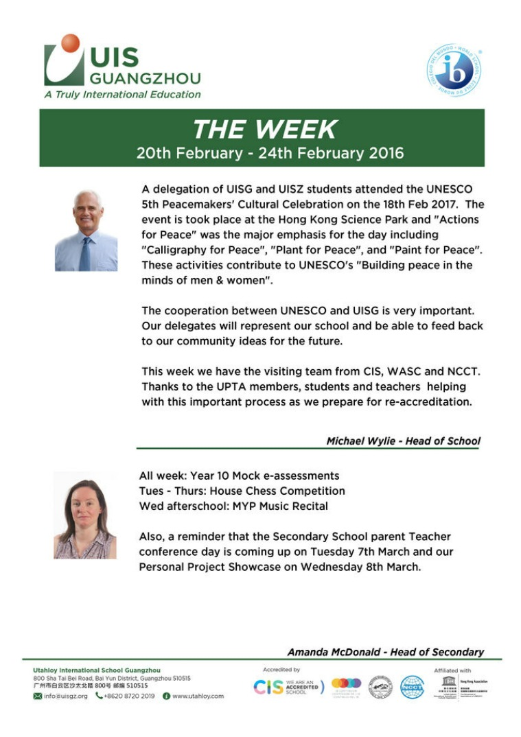 UISG - The Week Ahead 20th - 24th February 2017