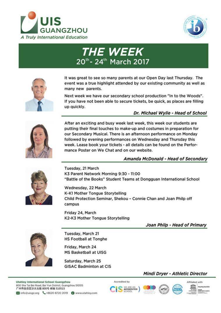 UISG - The Week Ahead 20th - 24th March