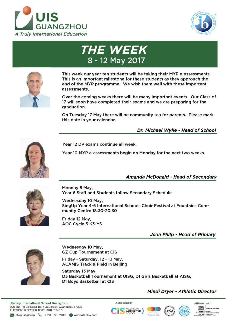 UISG - The Week Ahead 8th - 12th May 2017