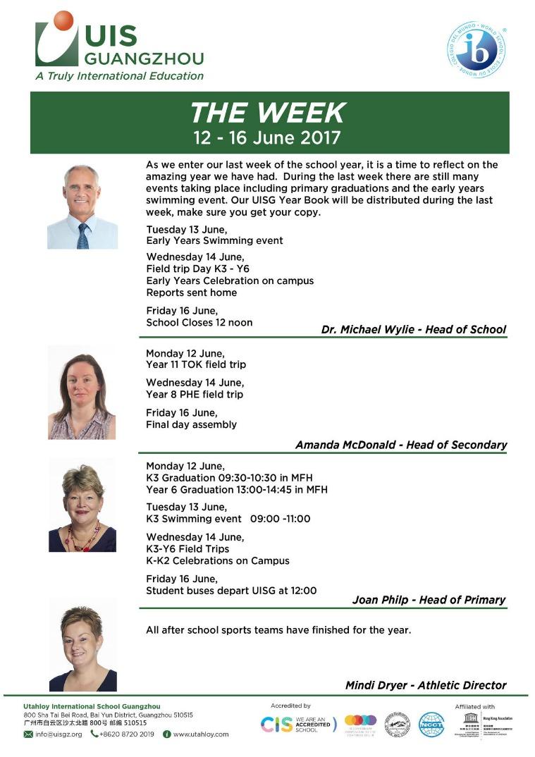 UISG - The Week Ahead 12th - 16th June 2017