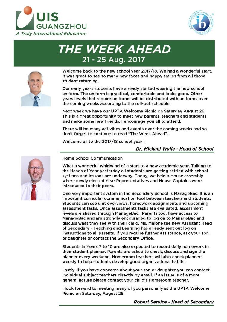 UISG - The Week Ahead 21st - 25th August 2017