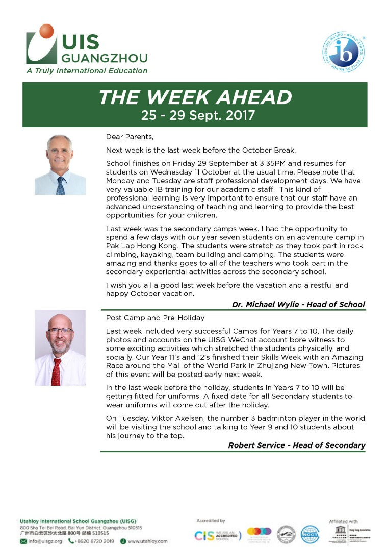 UISG - The Week Ahead 25th - 29th September 2017