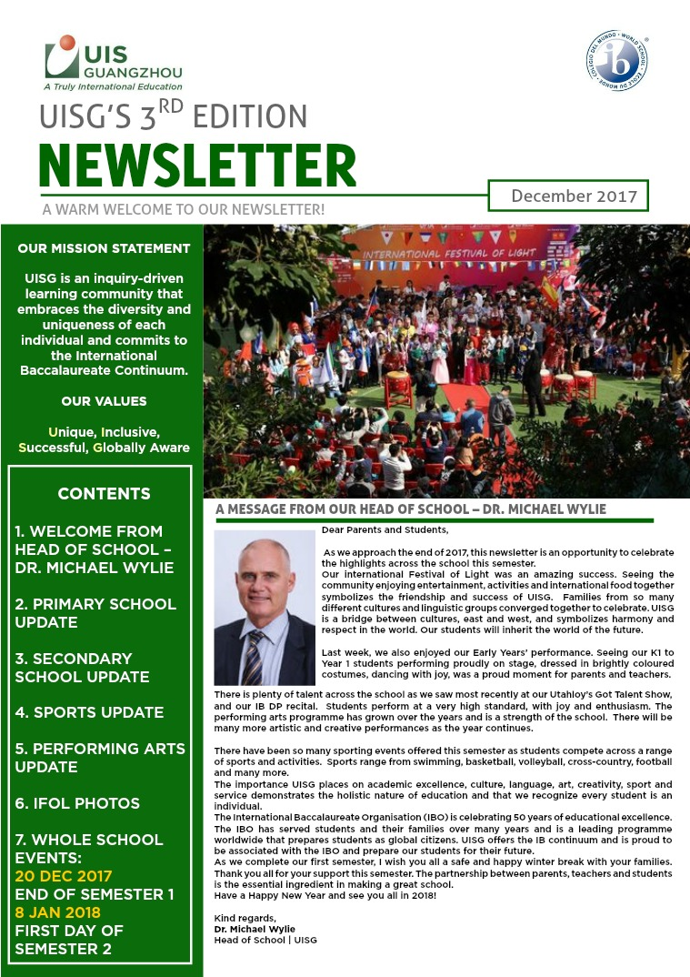 UISG's Newsletter Issue 3   December