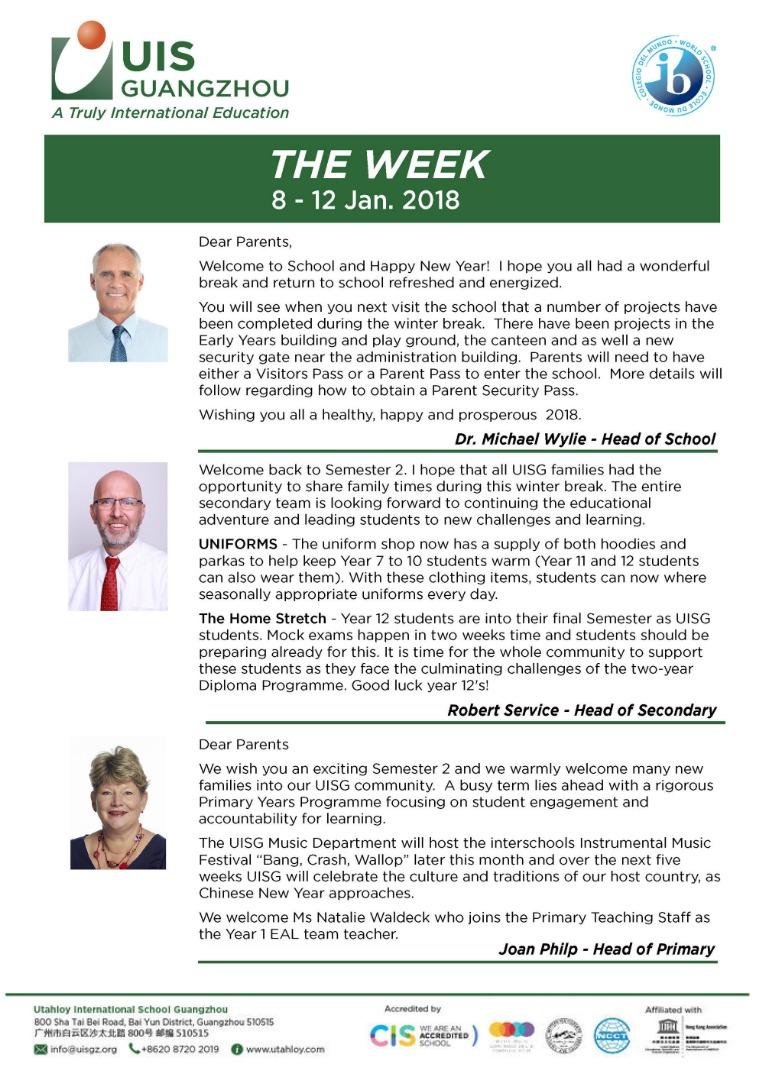 UISG - The Week Ahead 8th - 12th Jan 2018