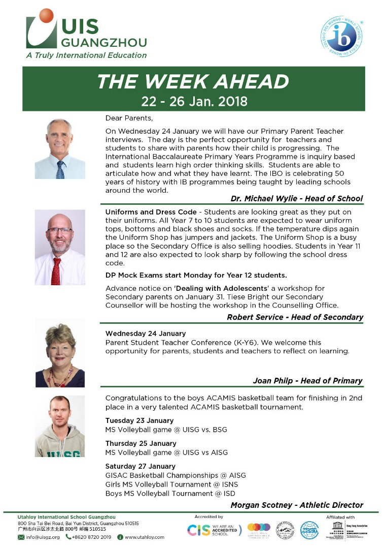 UISG - The Week Ahead 22nd - 26th Jan 2018
