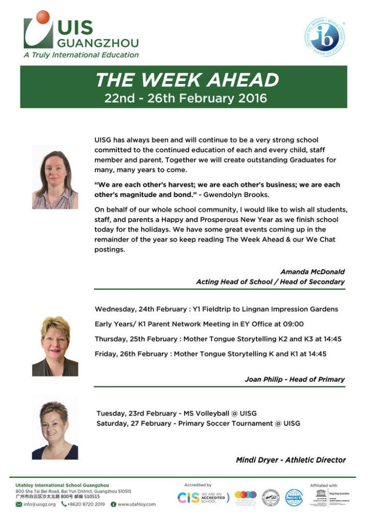 UISG - The Week Ahead 22nd - 26th February