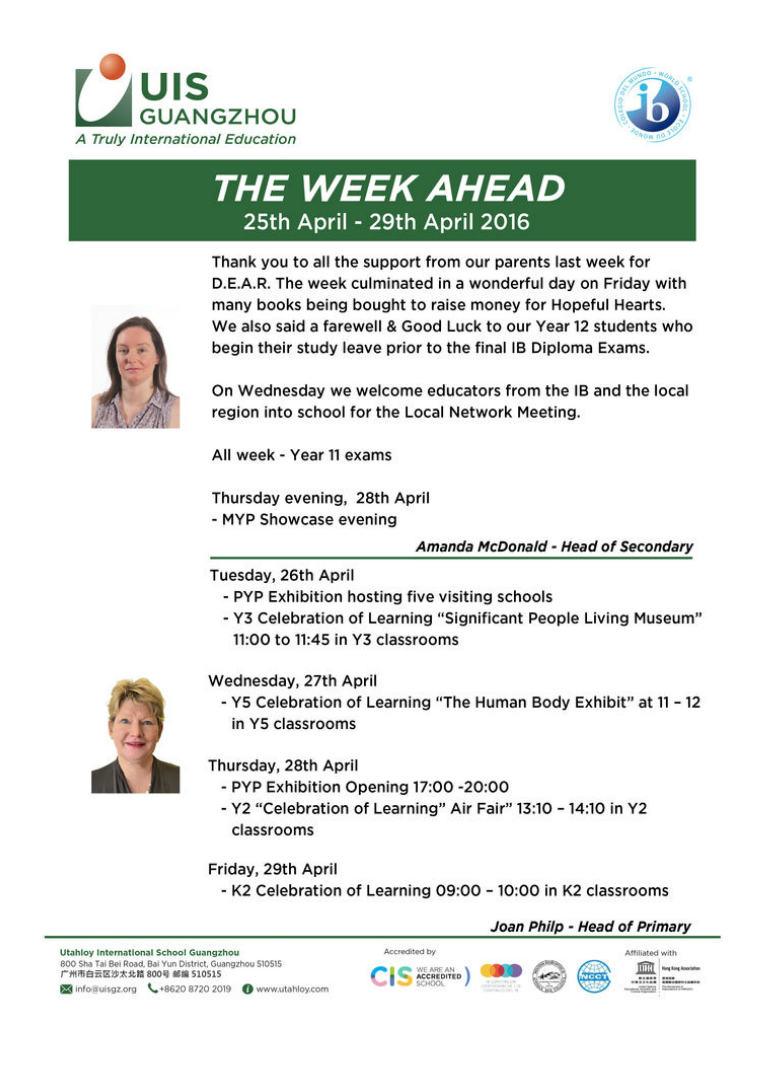 UISG - The Week Ahead 25th - 29th April 2016