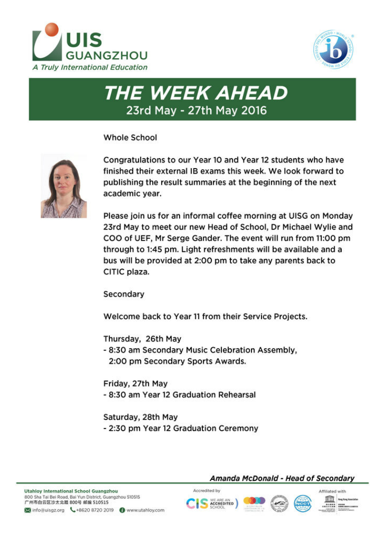 UISG - The Week Ahead 23rd - 27th May 2016