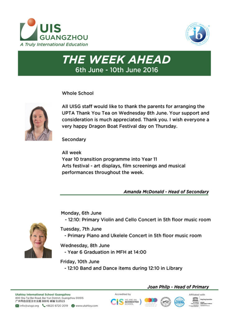 UISG - The Week Ahead 6th - 10th June 2016