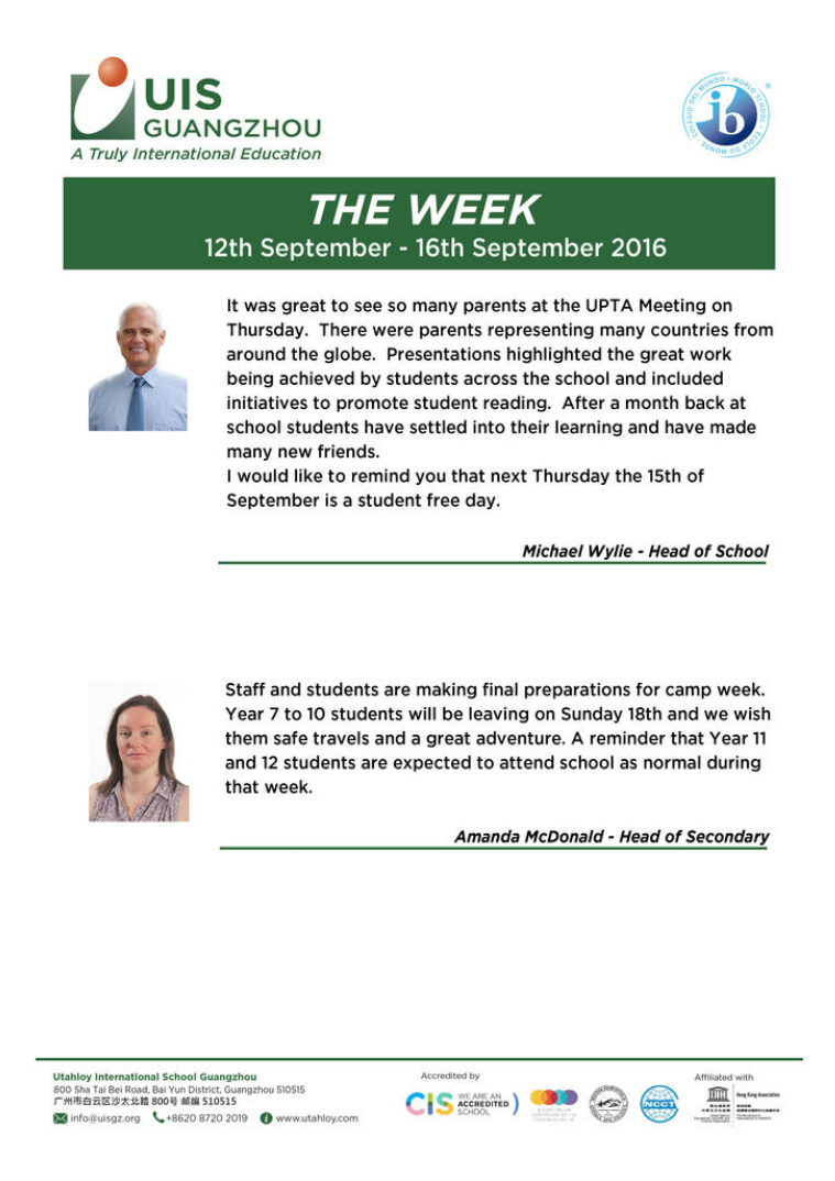 UISG - The Week Ahead 29th August - 2nd September 2016