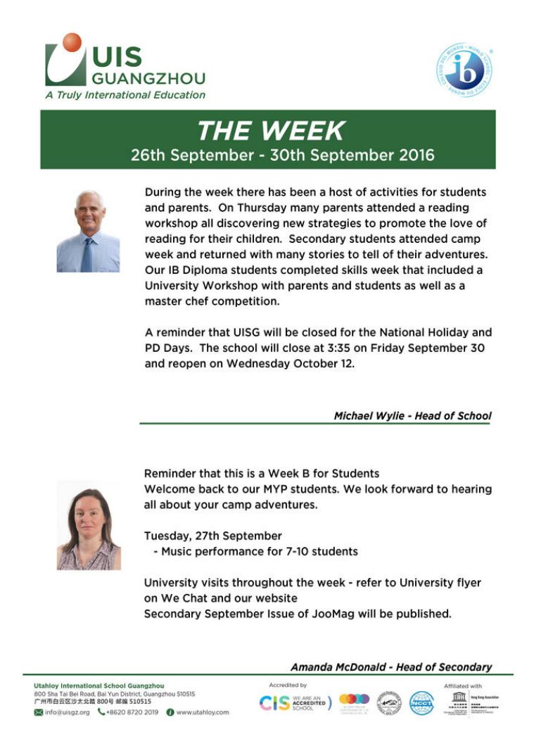 UISG - The Week Ahead 26th September - 30th September 2016