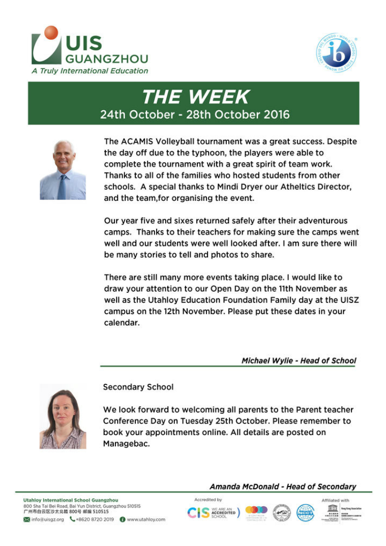 UISG - The Week Ahead 24th October - 28th October 2016