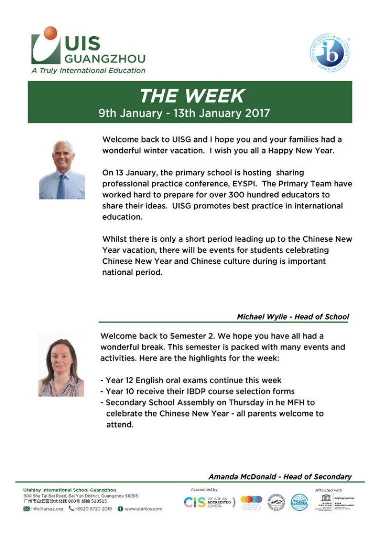 UISG - The Week Ahead 9th - 13th January 2017