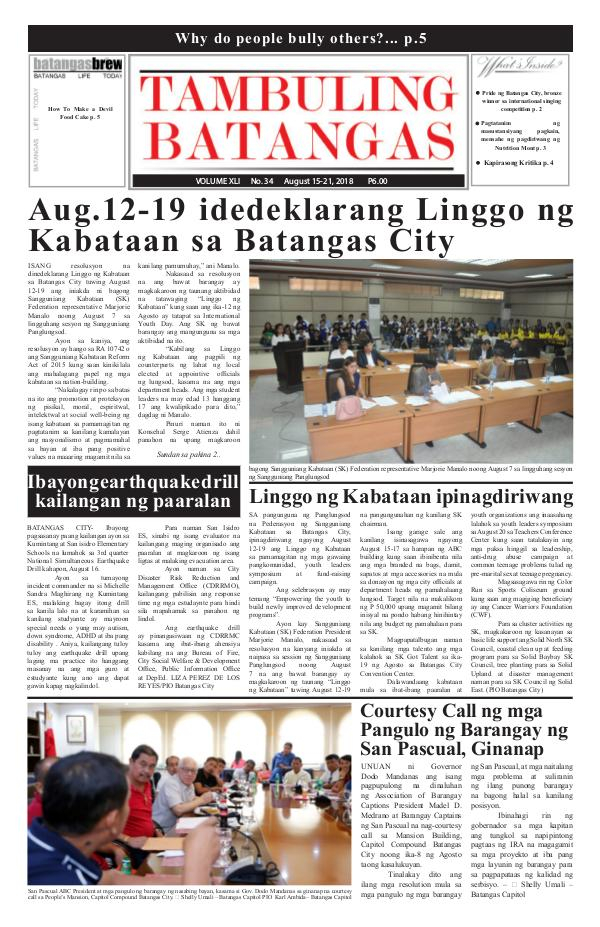 Tambuling Batangas Publication August 15-21, 2018 Issue