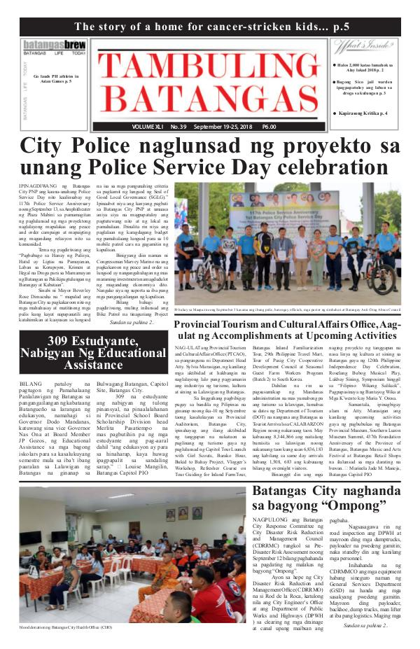 Tambuling Batangas Publication September 19-25, 2018 Issue