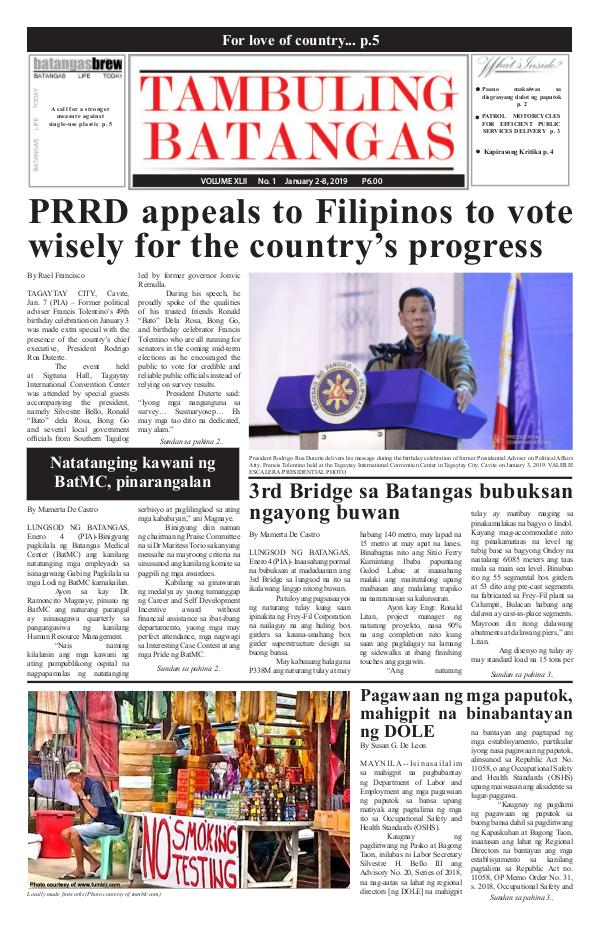 Tambuling Batangas Publication January 02-08, 2019 Issue