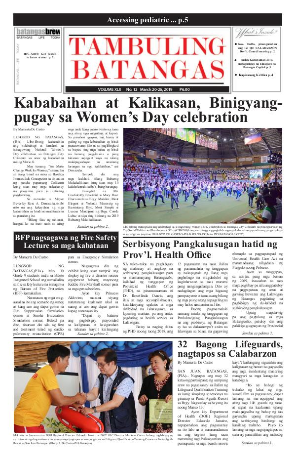 Tambuling Batangas Publication March 20-26, 2019 Issue