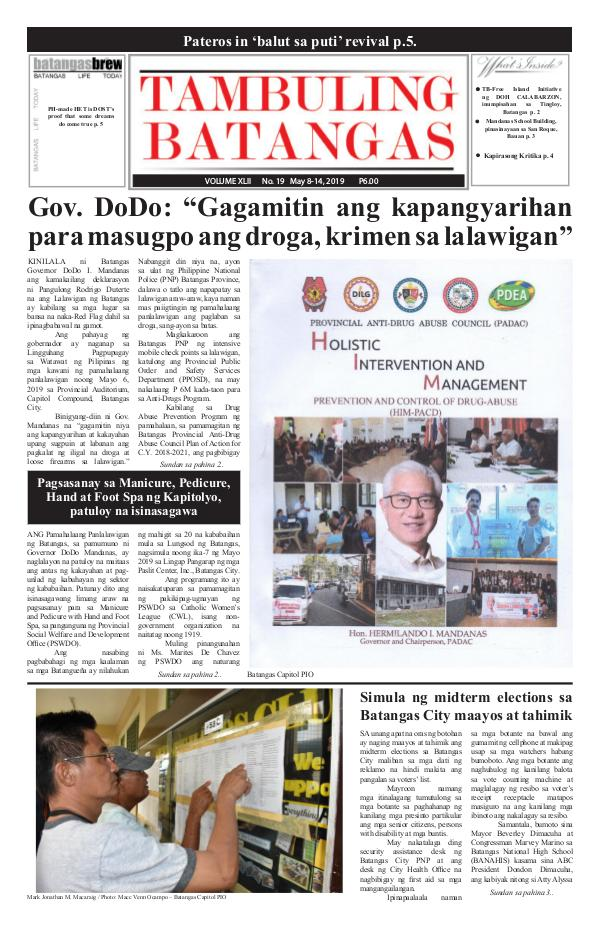 Tambuling Batangas Publication May 08-14, 2019 Issue
