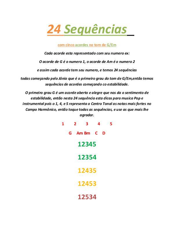Sequência de Acordes 24 Sequência com cinco acordes no tom de G-Em