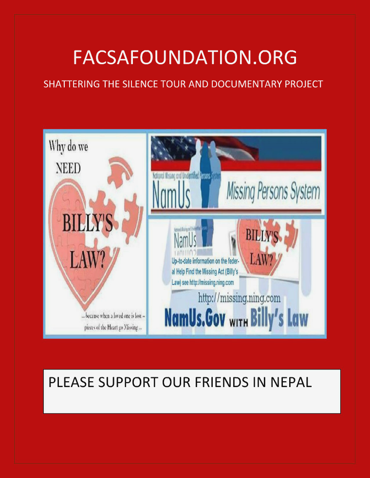 FACSAFOUNDATION.ORG SHATTERING THE SILENCE TOUR & DOCUMENTARY PROJECT MAY 2015 VOLUME 6