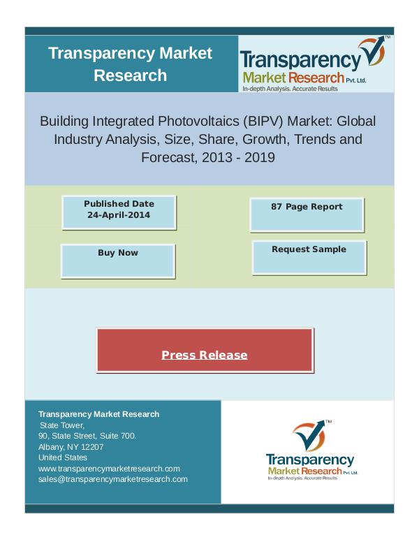Building Integrated Photovoltaics Market Size 2013 - 2019 oct 2016