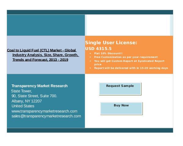 Research Report Coal to Liquid Fuel (CTL) Market 2013 - 2019 Nov 2016