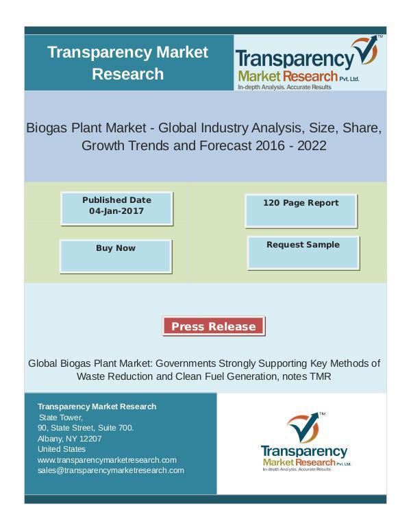 Biogas Plant Market Global Industry Analysis 2016 - 2022 Jan 2017