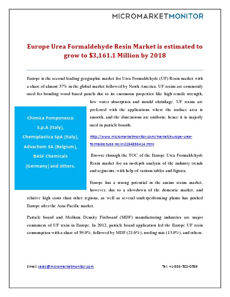 Europe Urea Formaldehyde Resin Market is Estimated to Grow to $3,161. December 9, 2014
