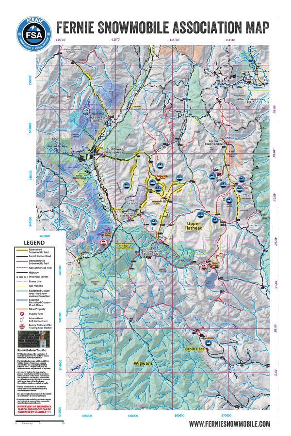 Fernie Snowmobile Trail Map 2017