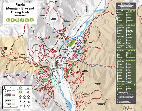 Fernie, BC Summer Hiking & Biking Trail Map