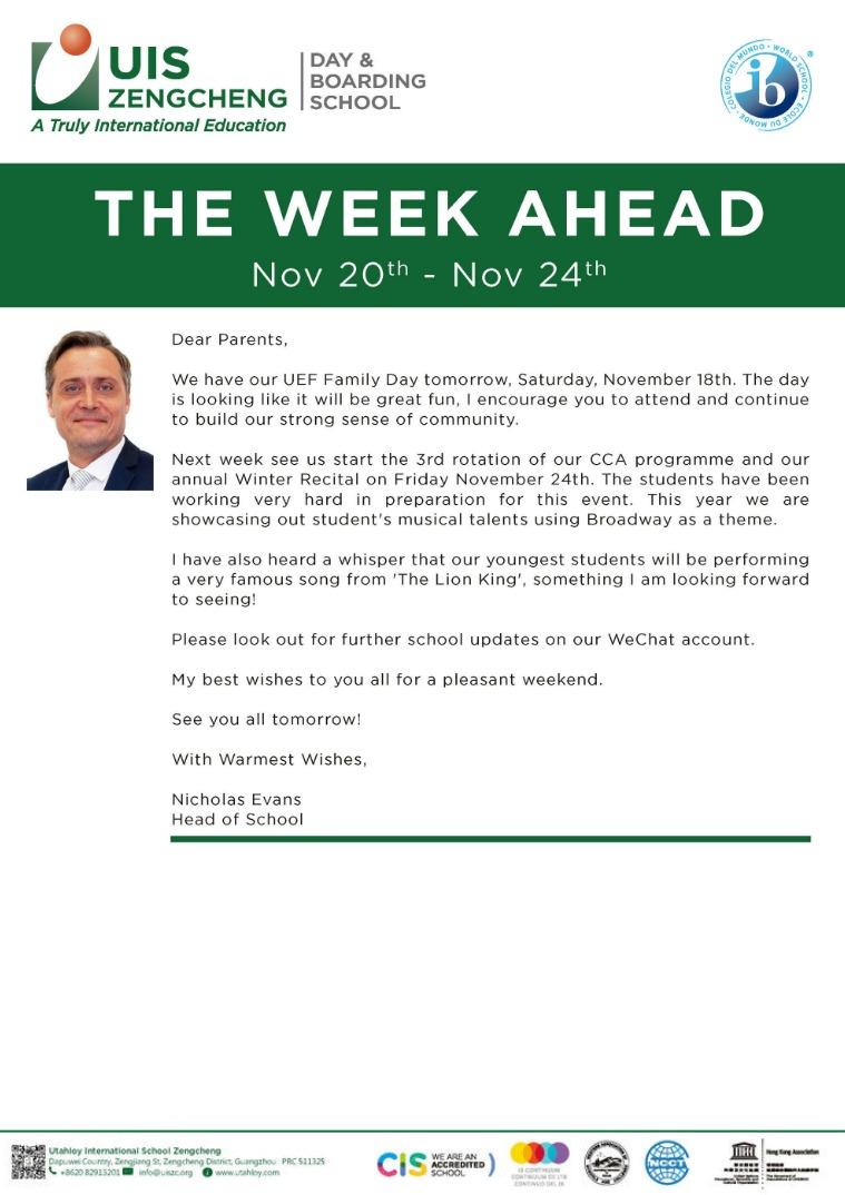 Week Ahead English version:  20th - 24th Nov 2017