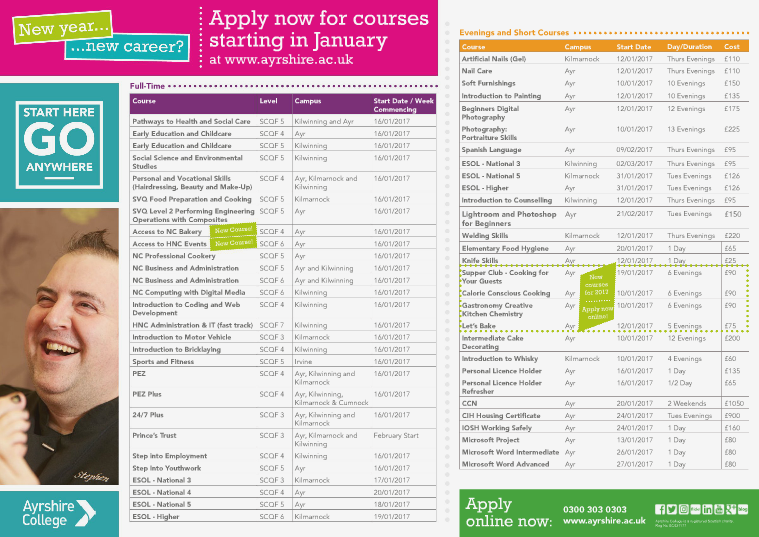 January Start Courses January Start Courses 2017