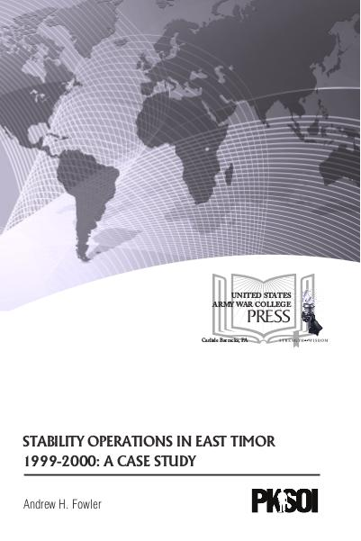 Stability Operations in East Timor 1999-2000: A Case Study September 2016