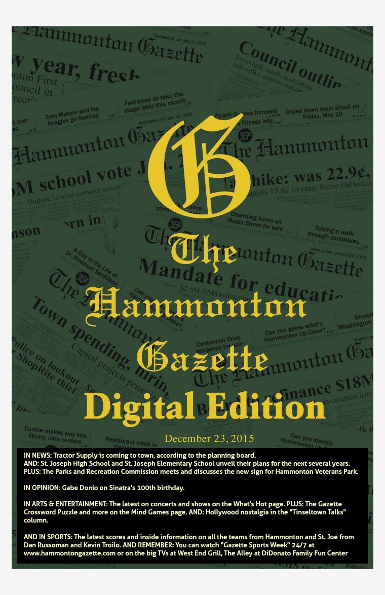 The Hammonton Gazette 12/23/15 Edition