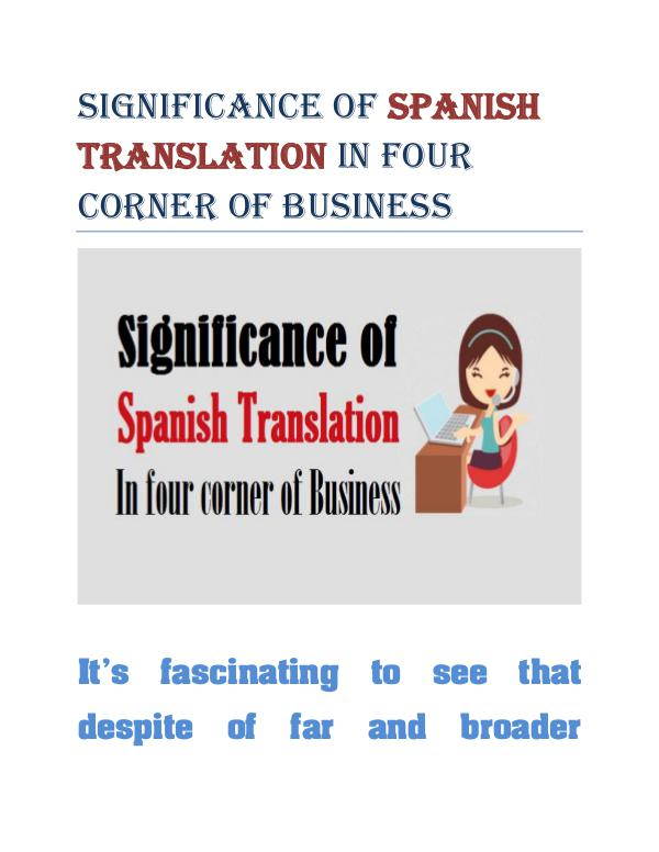 Significance of Spanish Translation In four corner of Business Spanish Translation In four corner of Business
