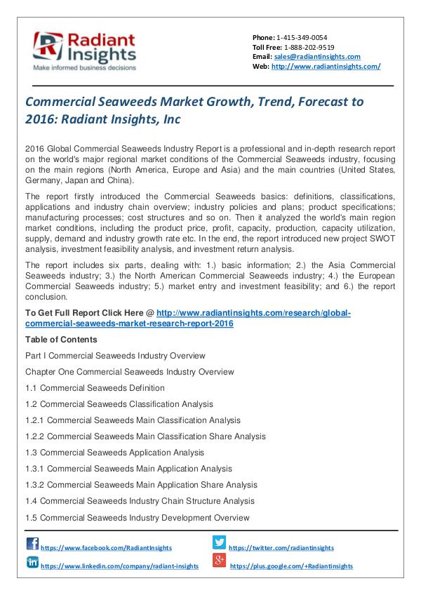 Commercial Seaweeds Market Growth, Trend, Forecast to 2016 Commercial Seaweeds Market 2016