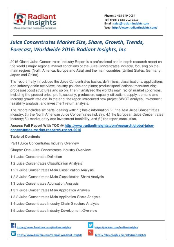 Juice Concentrates Market Size, Share, Growth, Trends, Forecast 2016 Juice Concentrates Market 2016
