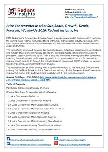 Juice Concentrates Market Size, Share, Growth, Trends, Forecast 2016
